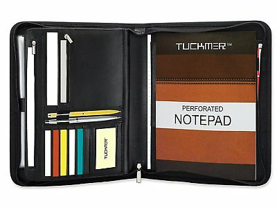 TUCKMER Zippered Leather Portfolio Business Padfolio with Zipper Organizer and |