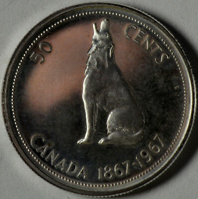 Canada Silver 50 Cents 1967 Howling Wolf