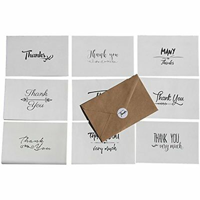 100 Pack Thank You Cards Card Stock Note Bulk Set Box Blank