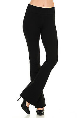 NEW Women's Cotton Solid Color Boot cut Length Fold Over Waistband Yoga Pants