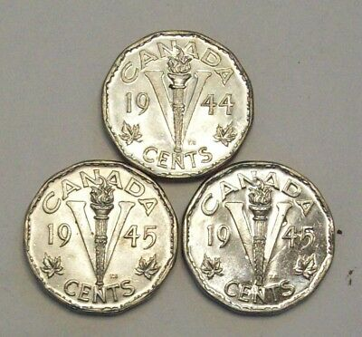 Lot Of 5 Canada Canadian Nickels Five Cent--1944 & (2) 1945 Unc Plus 1943 Tombac