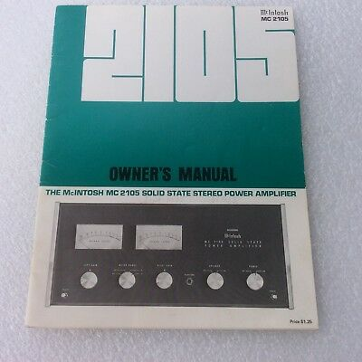 McIntosh MC 2105 Stereo Power Amplifier Operating Owner's Manual Solid State