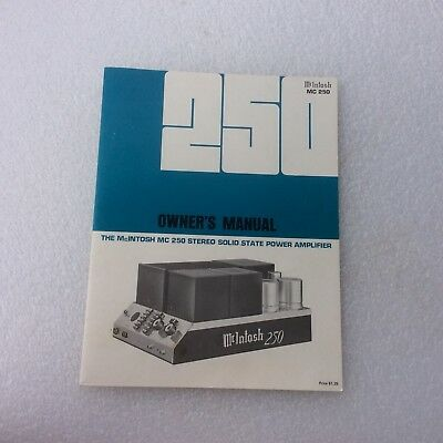 McIntosh MC 250 Stereo Solid State Power Amplifier Operating Owner's Manual