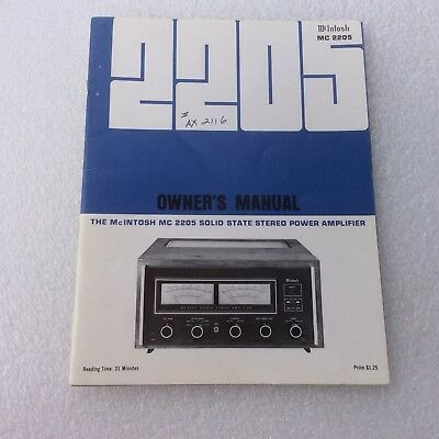 McIntosh MC 2205 Stereo Solid State Power Amplifier Operating Owner's Manual