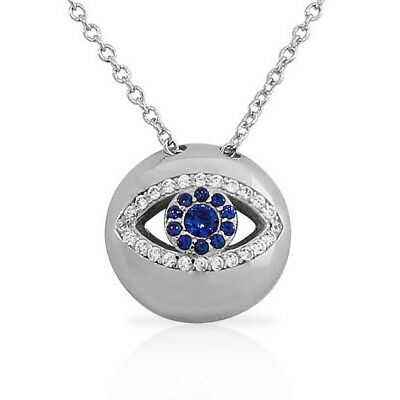 Sterling Silver Womens Evil Eye Hamsa White Blue Crystals CZ Pendant Necklace