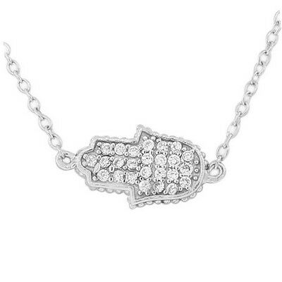 Sterling Silver Womens Hamsa Evil Eye White Crystals CZ Pendant Necklace