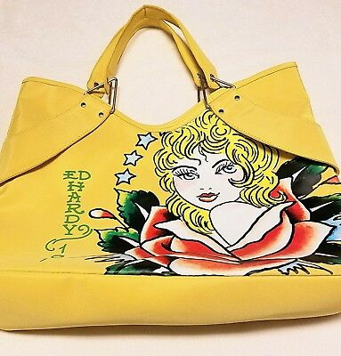 92f9788b2f VINTAGE 1971 ED Hardy Large Tote Travel Beach Bag Yellow Tattoo EUC ...