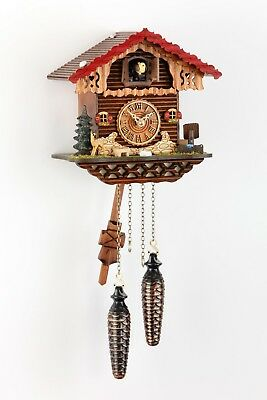 Quartz Cuckoo Clock Chalet with fawn and pine tree