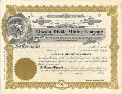 LINCOLN DIVIDE MINING CO unissued stock certificate