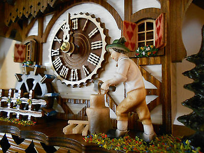 NEW Cuckoo Clock Black Forest House With Music-Move Wood-Cutter and Watermill.!!