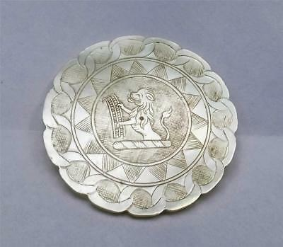 RARE ANTIQUE CHINESE MOTHER of PEARL ARMORIAL GAMING COUNTER - GREY FAMILY