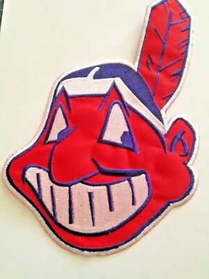 """Cleveland Indians Wahoo MLB Jersey Patch 9 3/4"""" Iron On Sew Hoodie In Stock"""