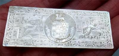 RARE ANTIQUE CHINESE MOTHER of PEARL ARMORIAL GAMING COUNTER - CLIVE FAMILY