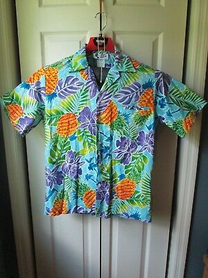 ea45dfb5 Hilo Hattie Pineapple Monstera Hibiscus XL Hawaiian Shirt Welt Pocket Camp