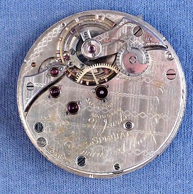 "Rare 18s Swiss ""Special"" 21j P.L. Pocket Watch Movement, F.W. Hoffman Albany, NY"