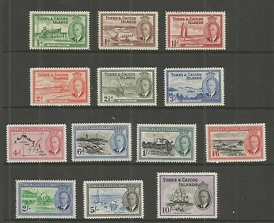 Turks & Caicos Islands 1950 George 6Th Definitive Set Sg,221-233 M/mint Lot L328