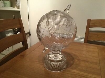 RARE STUNNING TYRONE CRYSTAL WORLD GLOBE MINT CONDITION 38cm HIGH GREAT TROPHY