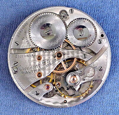 16s Waltham 21j Crescent St/1908 Pocket Watch Movement, #22326885 - 1918, OF