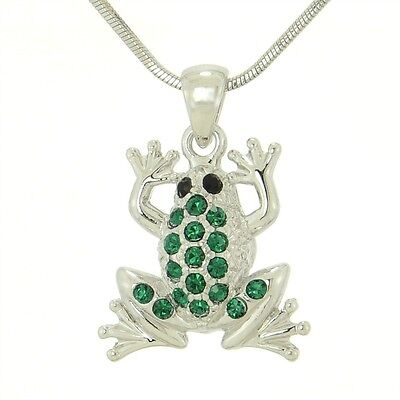 W Swarovski Crystal FROG Forest Water Animal Necklace Green Pendant Jewelry Gift