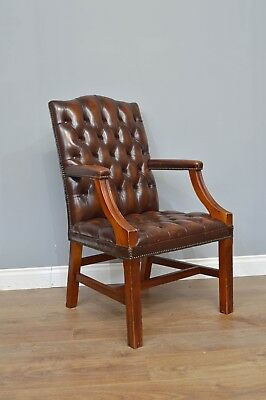 Chesterfield Brown Leather Gainsborough Chair Office Chair Library Chair