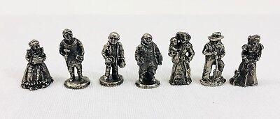 "Victorian Pewter Miniatures Lot of 7 Villager Figures Approx. 3/4"" - IRS-94"