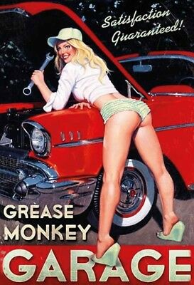Grease Monkey Garage Pin Up Girl Metal Sign Signboard Arched Tin Sign