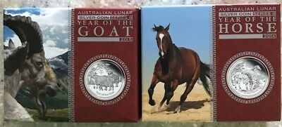 2014 & 2015 Year Goat & Horse 1/2 Silver Proof Coins Perth Mint In Boxes W COAs