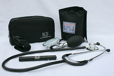 Black Blood Pressure Sphygmomanometer Stethoscope Penlight Tourniquet GP - ICE