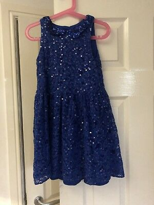 M&S Girls Cobalt Blue Sequin & Lace Party Dress with Silver Belt Age 6-7 Years
