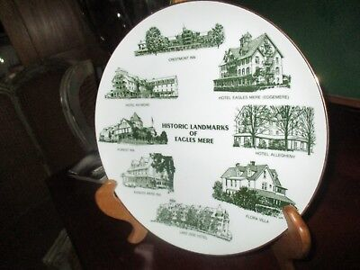 Vintage 1982  Eagles Mere PA Souvenir Plate Inns Hotel B&B Dated Numbered Rare