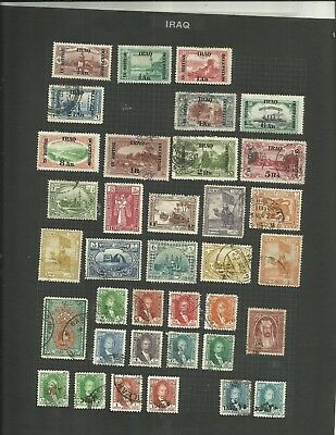 IRAQ early stamps vintage lot on old pages