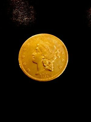 1870 US $20.00 Gold Coin - Scarce Year