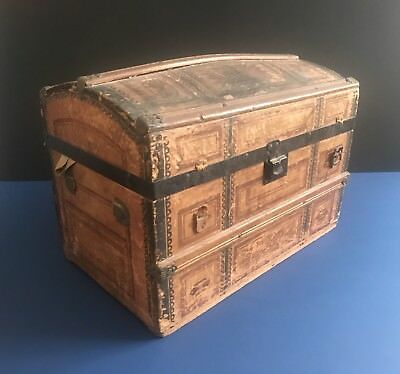 """Antique Child's Miniature Doll's Dome Top Trunk Wood Strap 16"""" x 10"""" x 11"""""""