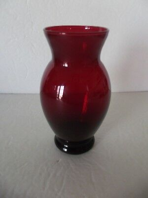 Vintage Ruby Red Vase with no Markings Lovely Piece Excellent Beauty