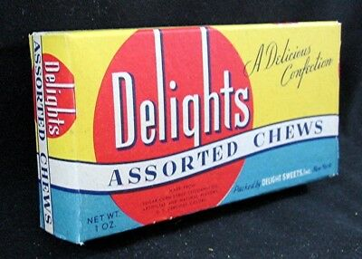Old Delights Asst Chews Candy Box Delight Sweets Inc New York Unused Old Stock