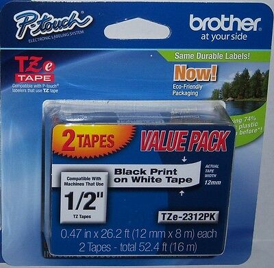 "Brother TZe-231-2PK 1/2"" Black on White P-touch Tape 12mm Twin Pack, TZe2312PK"