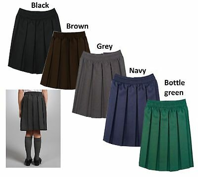 Age 2-18 Years Elasticated School Skirt Box Pleat Uniform Girls Kids All Sizes