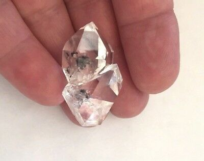 Herkimer Quartz Double Crystal Mineral, Beautiful Clear Clarity