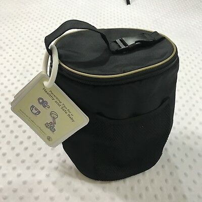 Thermal Black Tote Insulated Zippered Baby Bottle Bag