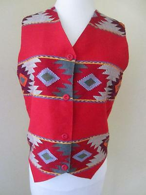 Vintage ORVIS Aztec Indian Vest NWT Red Multi Color Woven NEW Navajo Size S