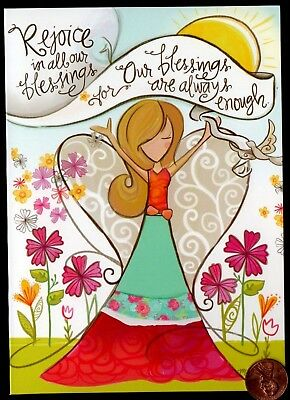 Angel Girl Flowers Heart Wings 2 Corinthians 12:9 - Religious Greeting Card NEW