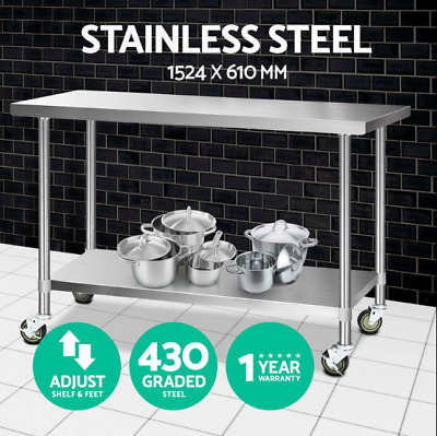 1524x610mm 430 Quality Stainless Steel Bench Commercial Food Table Castor Wheels