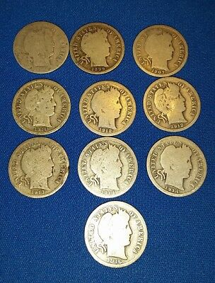 Ten Different G/VG Barber Dimes, 1892 to 1916, Nice Coins!