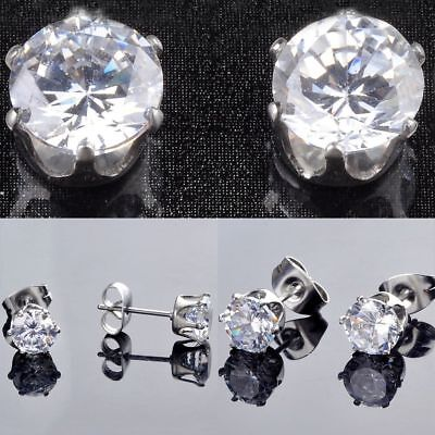 Stainless Steel Stud Earrings Cubic Zirconia Round Men Women 2PC - FREE SHIPPING