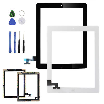 Touch Screen Digitizer Lens+Home Button Replacement For iPad 2 A1395 A1396 A1397