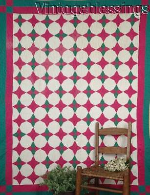 Cottage Home Vintage DEEP PINK & Nile Green HUMMINGBIRD Jobs Troubles QUILT