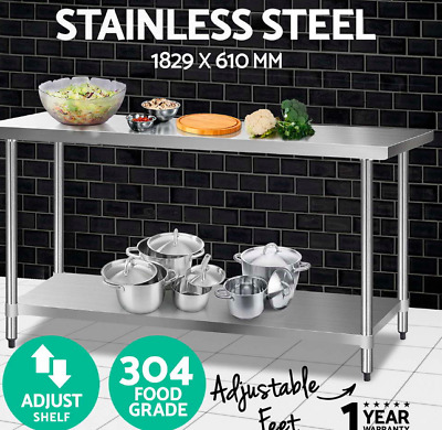 1829x610mm 304 Quality Stainless Steel Bench Commercial Food Table Castor Wheels