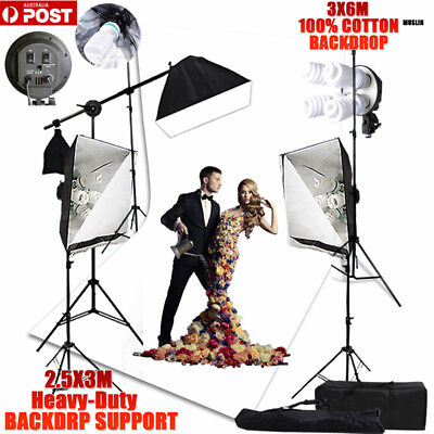 2875W Photography Softbox Lighting Muslin Screen White Backdrop Stand Support-AU