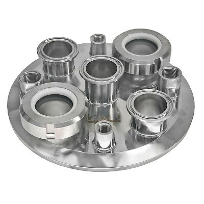 """HFS(R) 8"""" to 3x1.5"""" Tri Clamp Extractor Lid, 2 X 1/4"""" Fnpt and 2 X 1/2"""" Fnpt"""