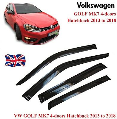 VW GOLF mk7 13 to 18 WINDOW DEFLECTOR VISOR VENT SHADE SUN GUARD BLACK  - M212